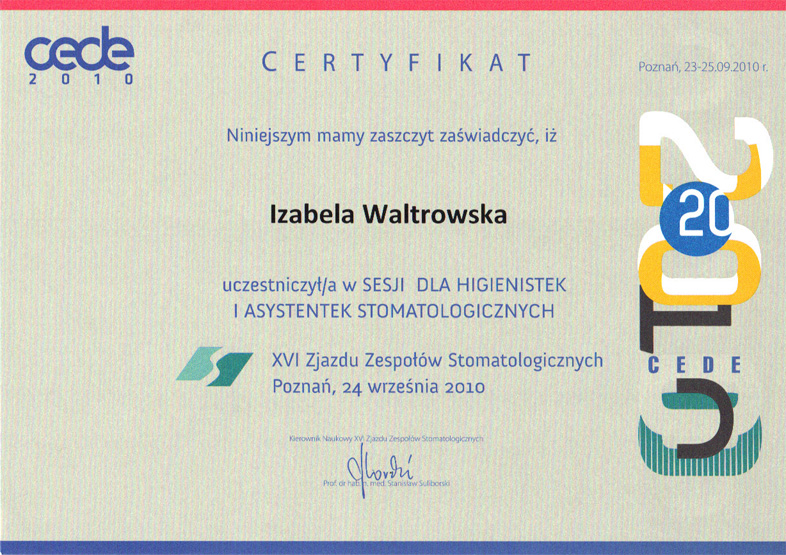 Certyfikat Izabela Waltrowska