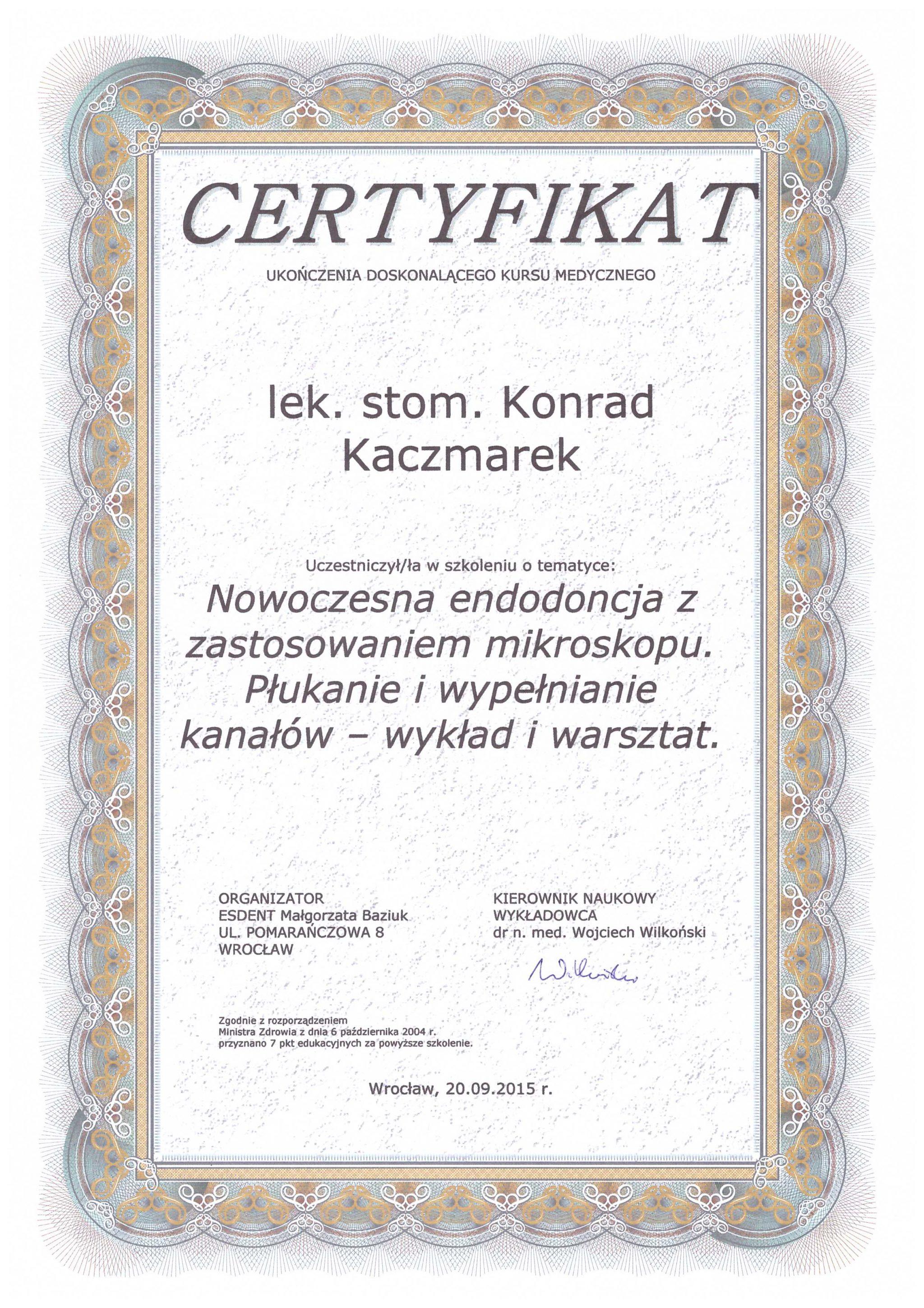 Certyfikaty Konrad Kaczmarek